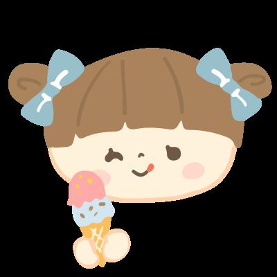 アイスクリームを持つ女の子のイラスト 10秒でざいん Com